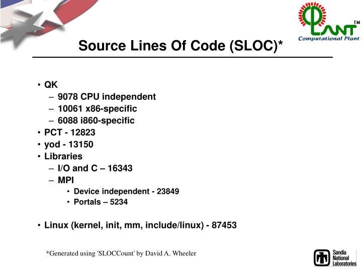 Source Lines Of Code (SLOC)*