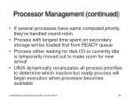 processor management continued