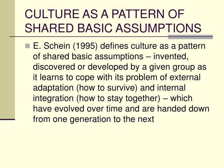 dimensions of culture underlying assumptions Levels of organizational cultures according to edgar schein, there are three levels of organizational culture these levels are referred to as artifacts, espoused values, and basic underlying assumptions.
