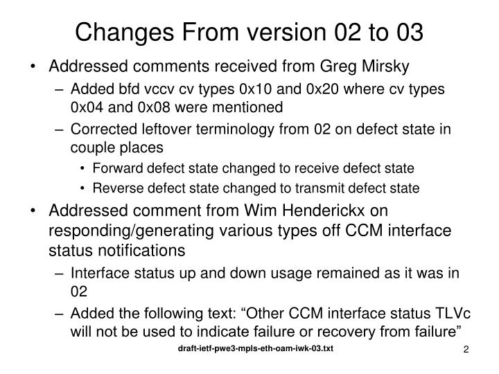 Changes from version 02 to 03