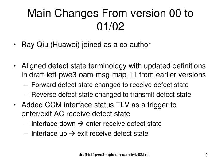 Main changes from version 00 to 01 02