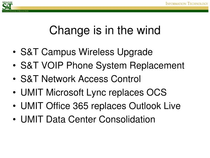 Change is in the wind