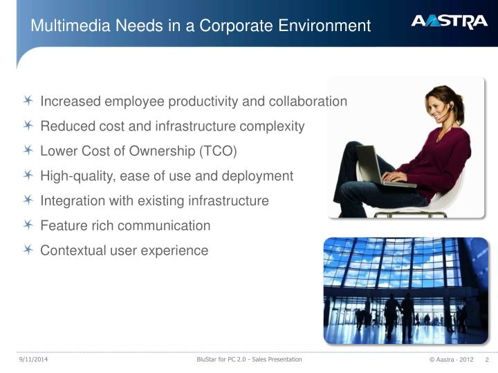 Multimedia needs in a corporate environment