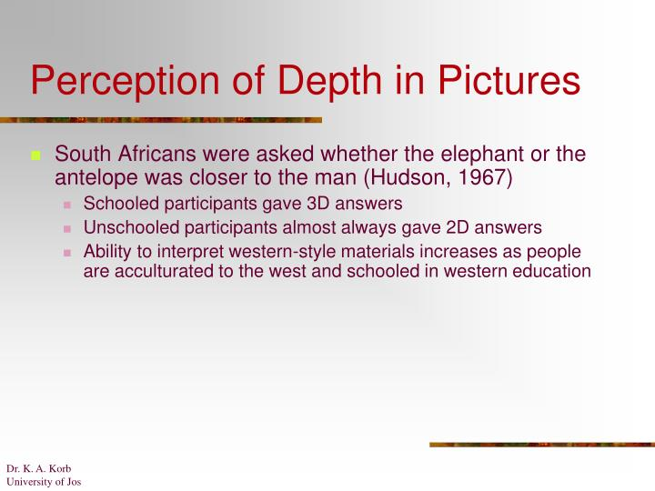Perception of Depth in Pictures