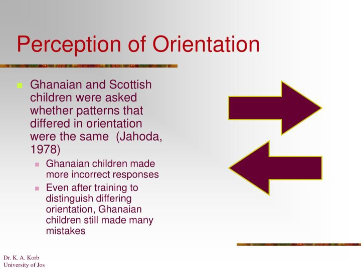 Perception of Orientation