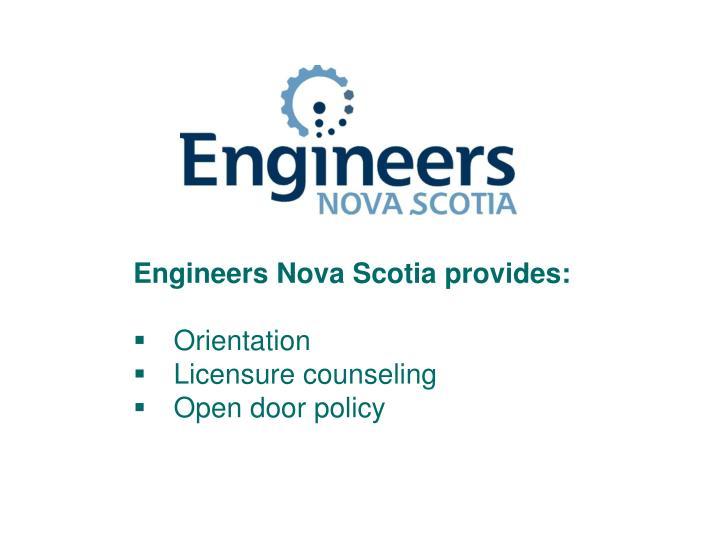 Engineers Nova Scotia provides: