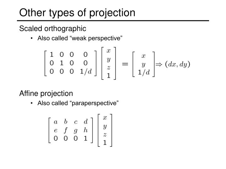 Other types of projection