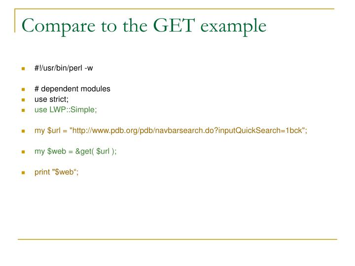 Compare to the GET example