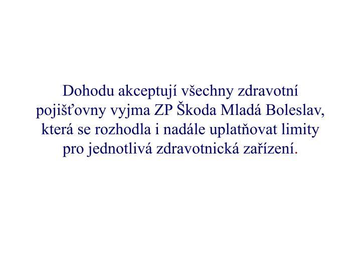 Dohodu akceptují všechny zdravotní pojišťovny vyjma ZP Škoda Mladá Boleslav, která se rozhodla i nadále uplatňovat limity pro jednotlivá zdravotnická zařízení
