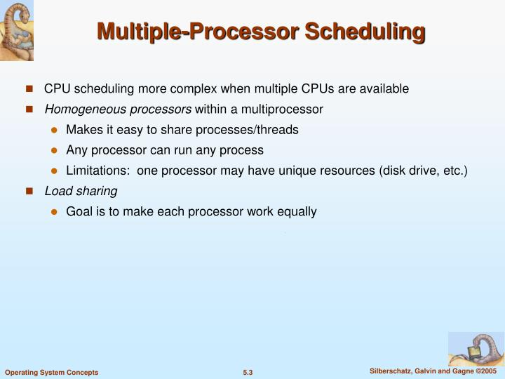 Multiple processor scheduling