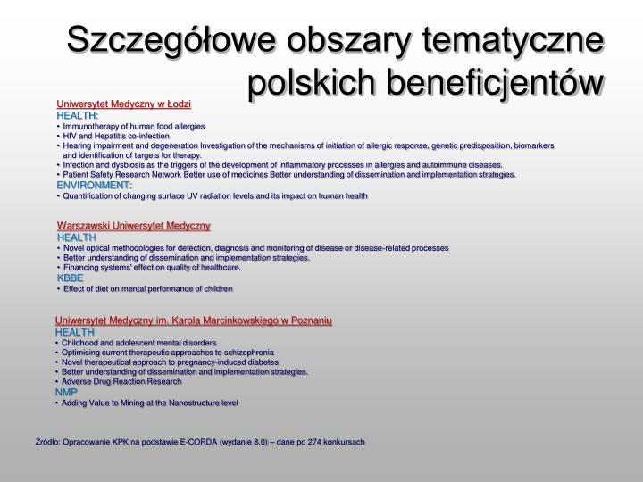 Szczegółowe obszary tematyczne polskich beneficjentów