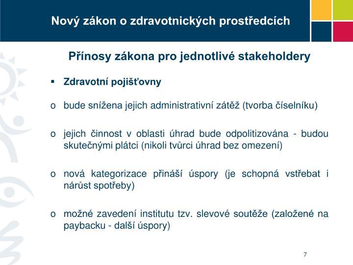 Přínosy zákona pro jednotlivé stakeholdery