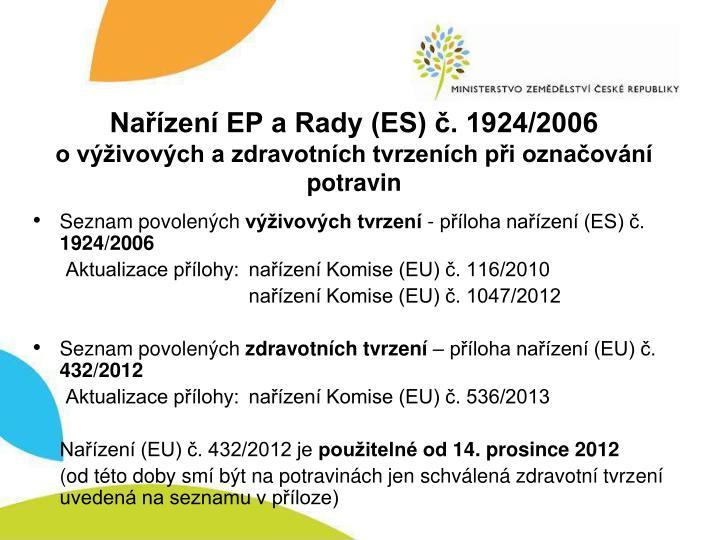 Nařízení EP a Rady (ES) č. 1924/2006