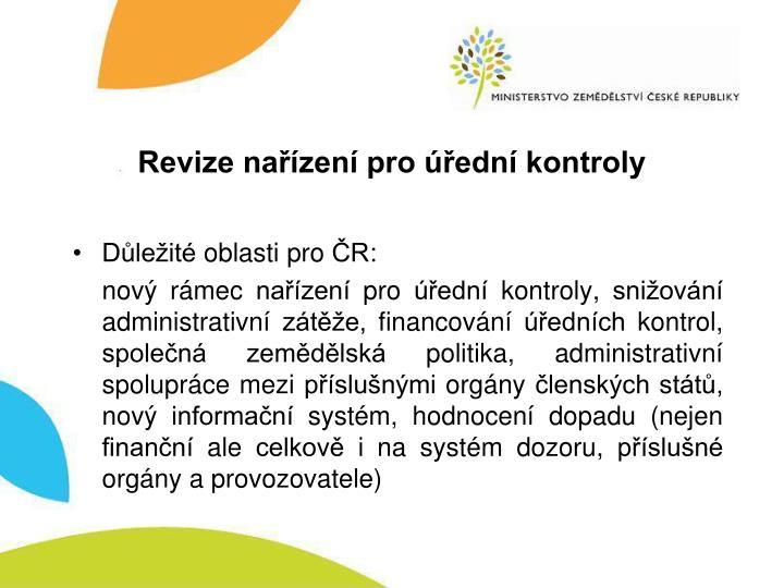 Revize nařízení pro úřední kontroly
