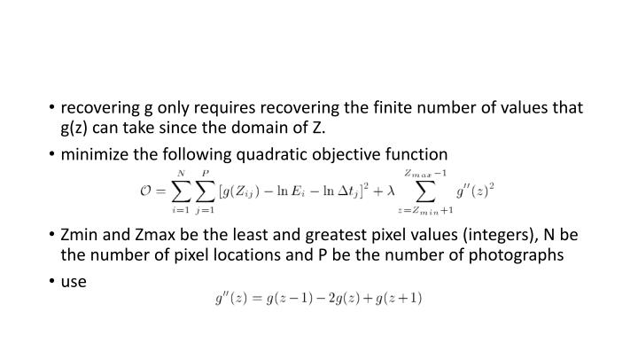 recovering g only requires recovering the finite number of values that g(z) can take since the domain of