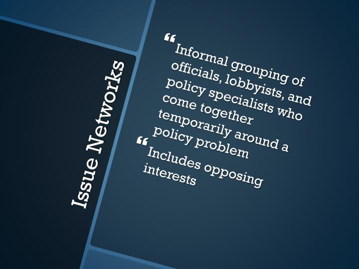 Informal grouping of officials, lobbyists, and policy specialists who come together temporarily around a policy problem