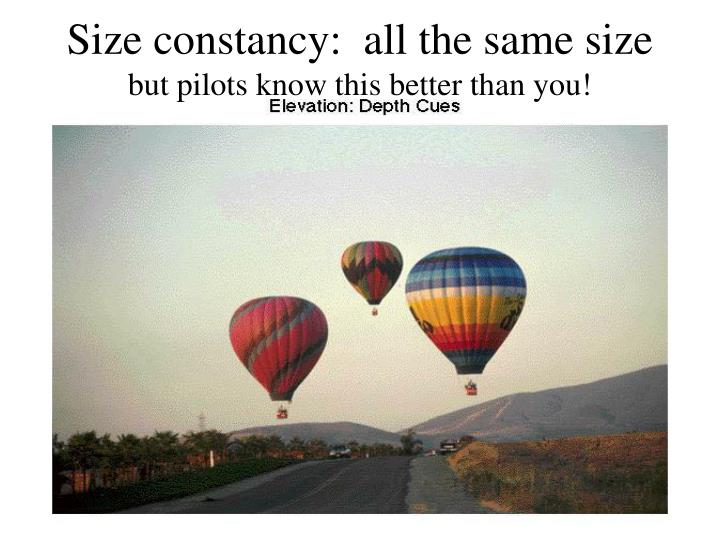 Size constancy:  all the same size