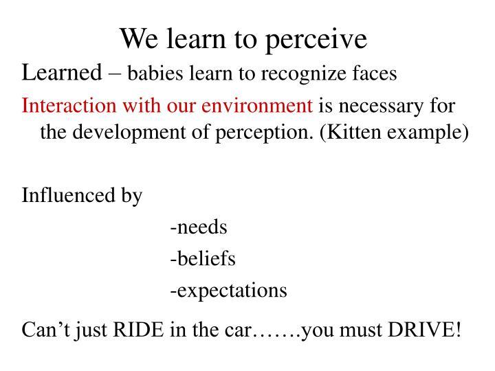 We learn to perceive
