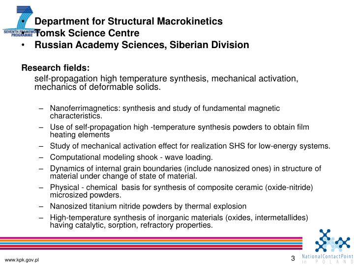 Department for Structural Macrokinetics