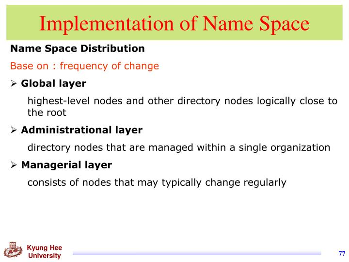 Implementation of Name Space