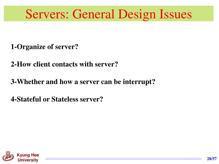 Servers: General Design Issues