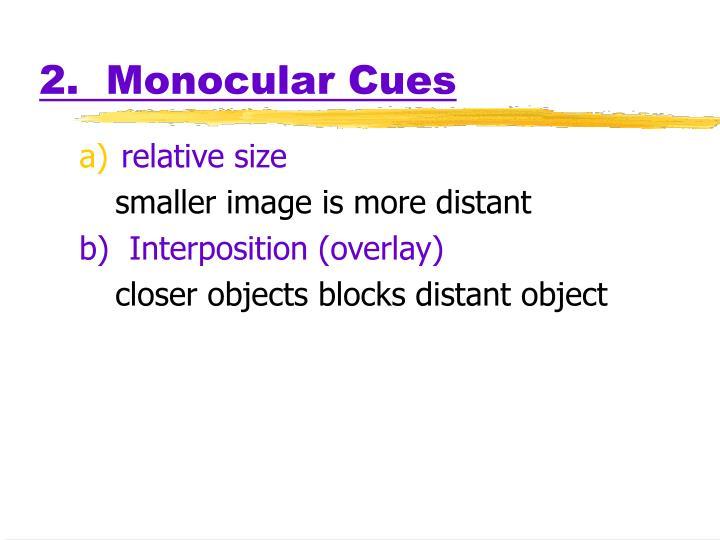 2.  Monocular Cues
