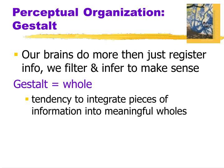 Perceptual Organization: Gestalt