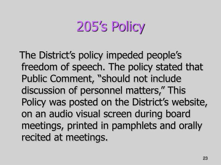 205's Policy