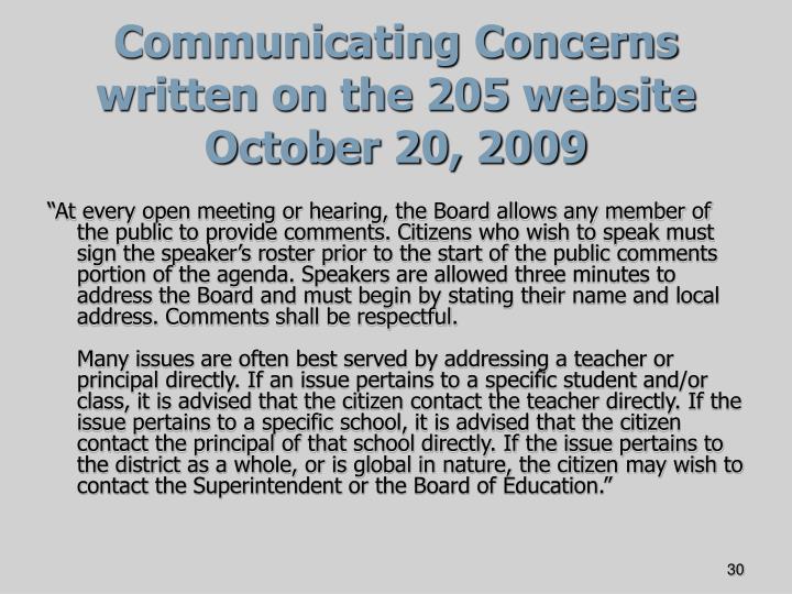 Communicating Concerns