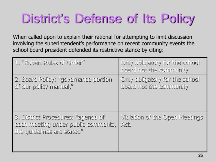 District's Defense of Its Policy