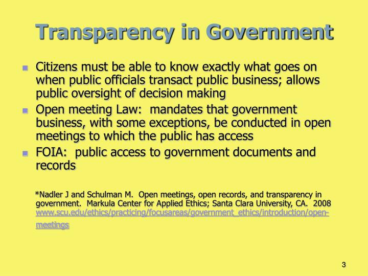 Transparency in government1