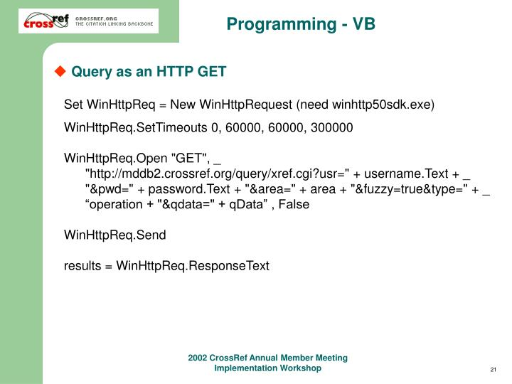 Programming - VB