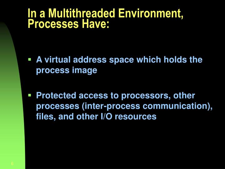 In a Multithreaded Environment, Processes Have: