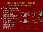 relationship between perceived size and perceived depth