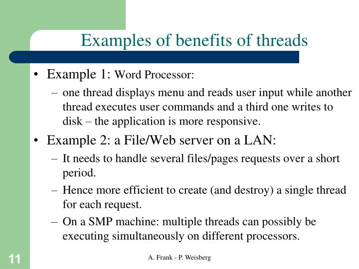 Examples of benefits of threads