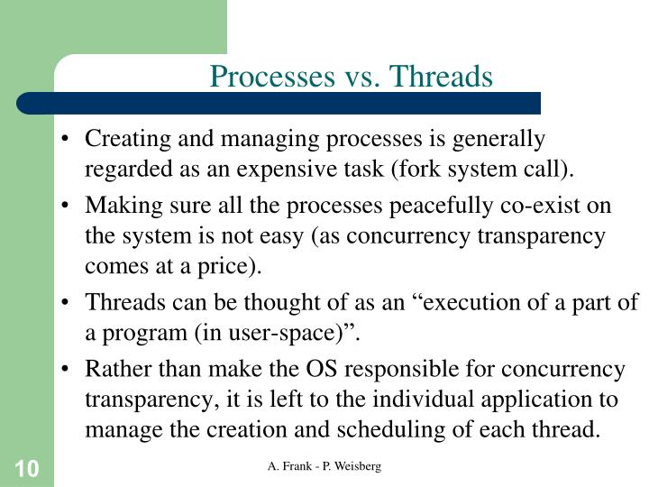 Processes vs. Threads