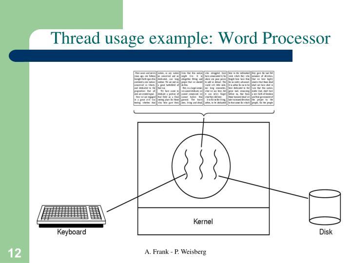 Thread usage example: Word Processor