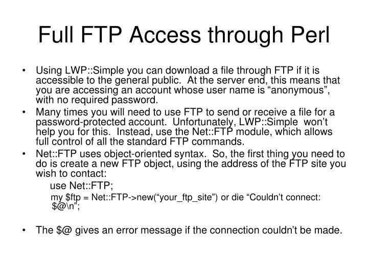 Full FTP Access through Perl