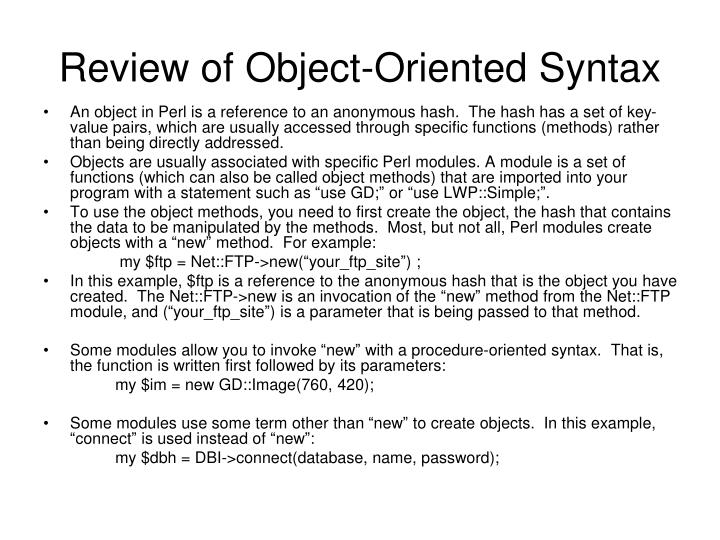 Review of Object-Oriented Syntax