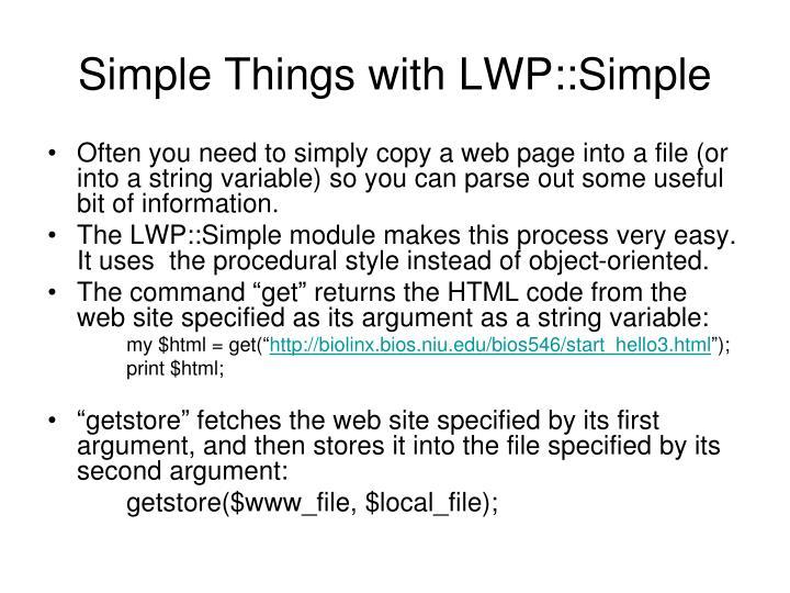 Simple things with lwp simple