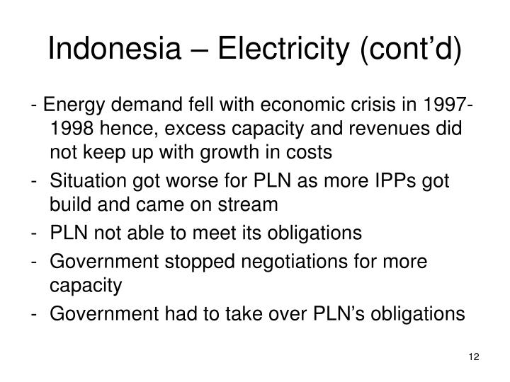 Indonesia – Electricity (cont'd)