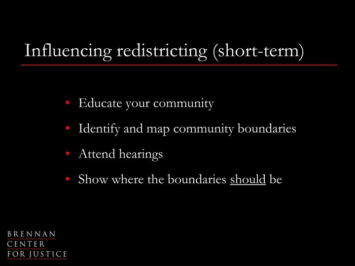 Influencing redistricting (short-term)