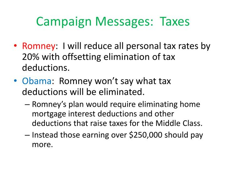 Campaign Messages:  Taxes