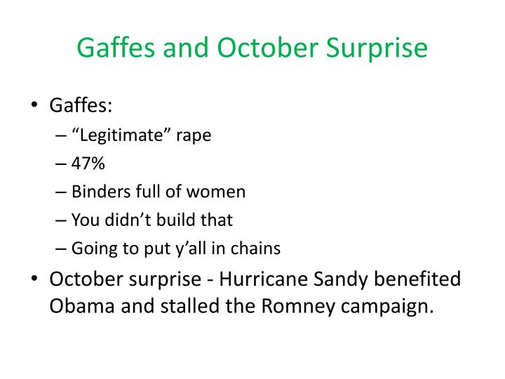 Gaffes and October Surprise