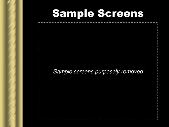 Sample Screens