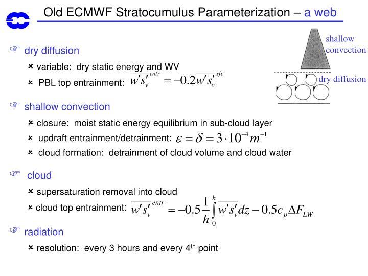 Old ECMWF Stratocumulus Parameterization –