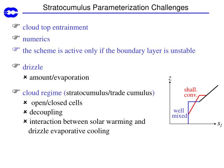 Stratocumulus Parameterization Challenges