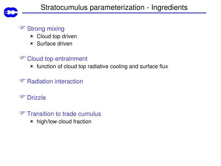 Stratocumulus parameterization - Ingredients