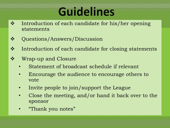 Introduction of each candidate for his/her opening statements
