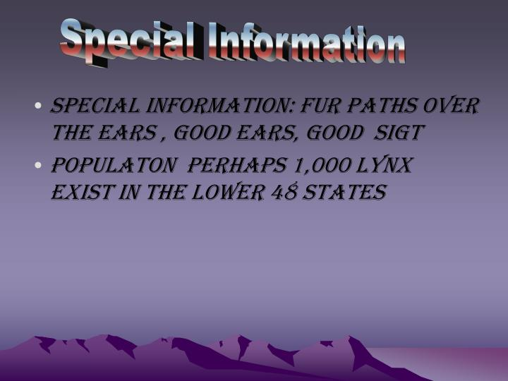 Special Information